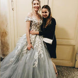 Grey Tulle Lace Prom Dresses, Off Shoulder A-line Prom Dresses, Lovely Prom Dresses, Popular Prom Dresses, PD0437