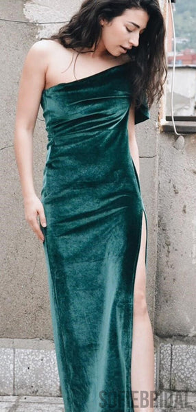 One Shoulder Emerald Side Slit Long Prom Dresses, PD0834