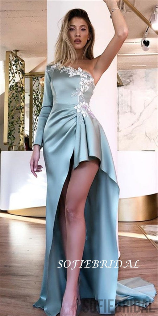 One-shoulder Long Sleeves Appliques High-low Prom Dresses With Train, PD0131