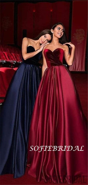 Gergeous Sweetheart Velvet Top Strapless Long Prom Dresses, PD0115