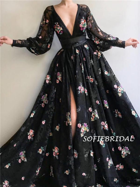 A-line Deep V-neck Long Sleeves Balck Lace Appliques Prom Dresses With Pleats, PD1018