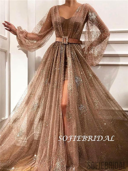 A-line Sweetheart See-though Long Sleeves Prom Dresses With Belt, PD0124