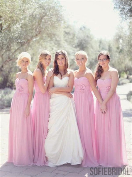Sweetheart Floor-length Pink Chiffon Long Bridesmaid Dresses, BD0576