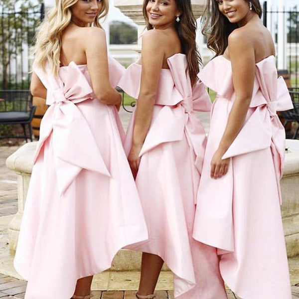 Unique Women Pink Satin Bridesmaid Dresses, Cheap Bridesmaid Dresses, WG149