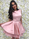 Cute Pink Bateau Simple Cheap Homecoming Dresses 2018, CM424
