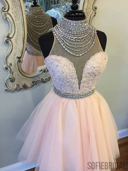 High Neck See Through Rhinestone Cute Pink Homecoming Dresses 2018, CM496