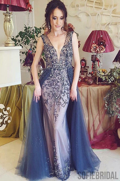 Plunging V-neck Rhinestone Beaded Prom Dresses With Tulle Skirt, PD0796