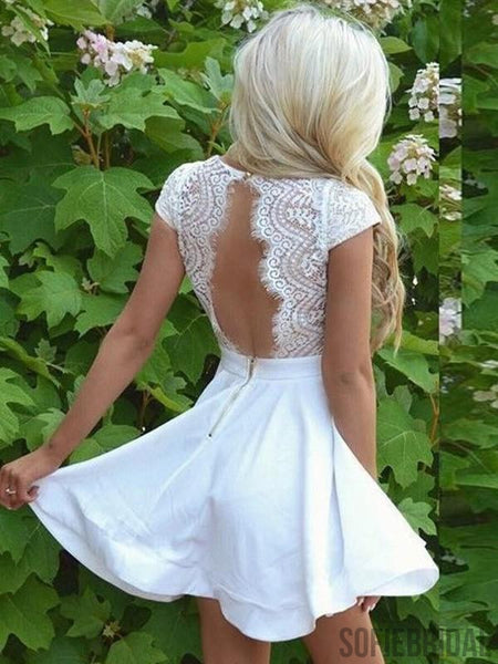 A-line V-neck Lace Top Cap Sleeves Open back Homecoming Dresses, HD0105