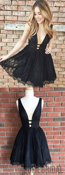 A-line Deep V-neck Sleeveless Full Lace Black Homecoming Dresses, HD0107