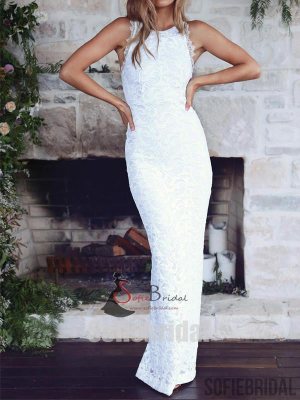 Long Mermaid Cross Back Lace Slit Wedding Dresses, Country Wedding Dresses, WD0246