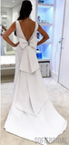 White V-neck Prom Dresses, Long Mermaid Prom Dresses, Cheap Prom Dresses, PD0742