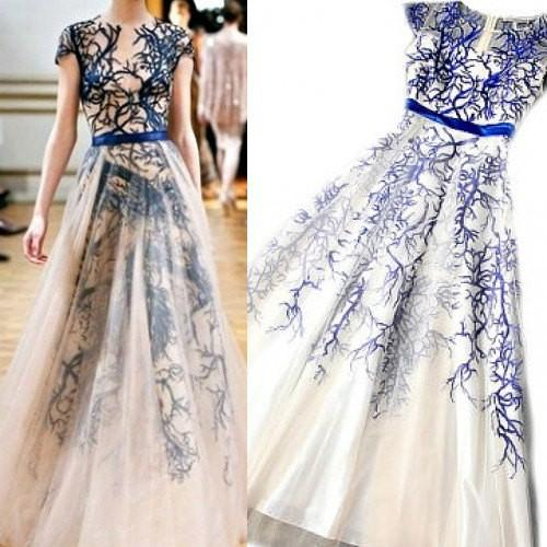Gorgeous Round Neck Cap Sleeve Elegant Long A-line Tulle Lace Prom Dresses, PD0244