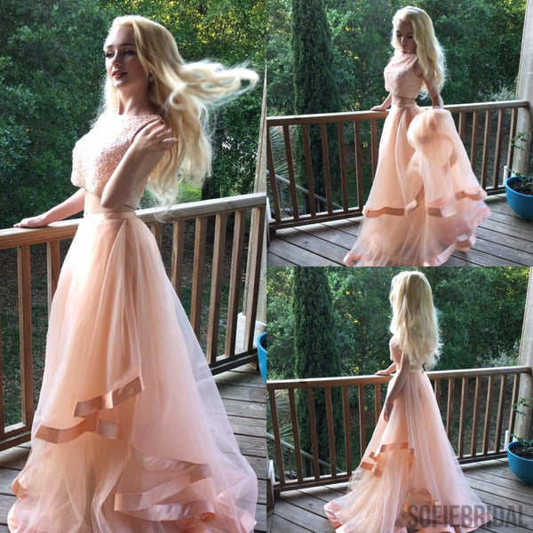 Popular Two Pieces Beaded Organza Long Prom Dresses, PD0236