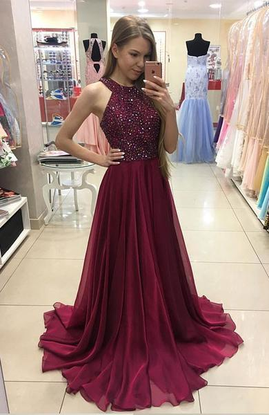 Simple Halter Burgundy Evening Prom Dresses, Custom Long Prom Dresses, Wedding Party Dresses,Long Bridesmaid Dress, WD0257