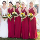 Long Red Lace Top V-Neck Long A-line Chiffon Bridesmaid Dresses, PD0298