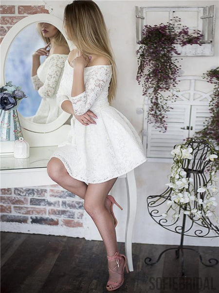 A-line Off-shoulder 3/4 Sleeves Lace Short Homecoming Dress, HD0150