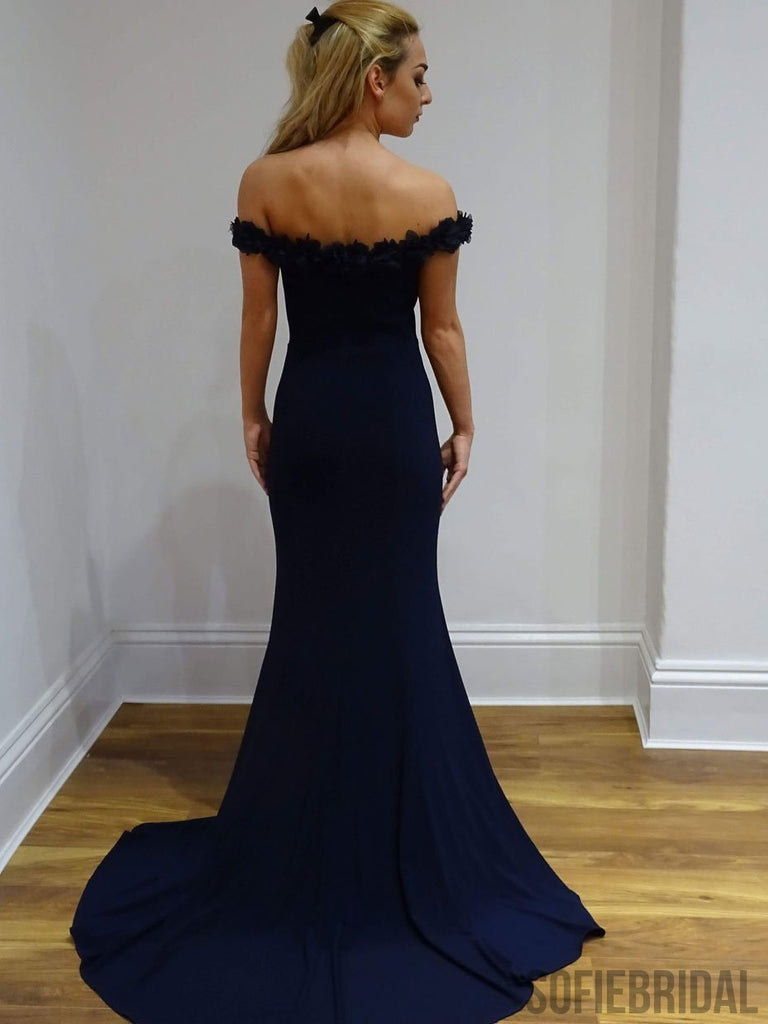 Navy Off Shoulder Floral Mermaid Long Prom Dresses, PD0812