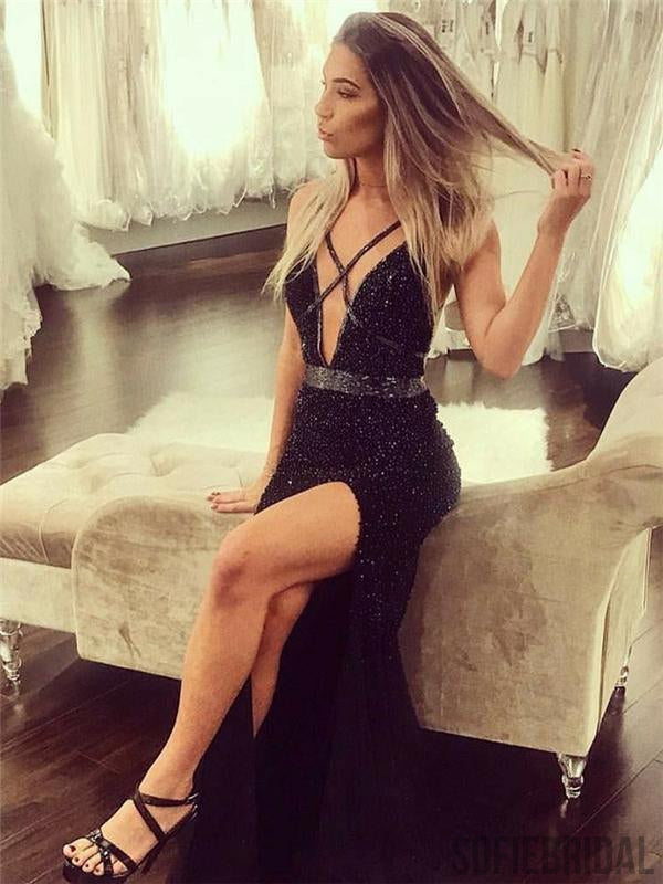 Black Beaded Prom Dresses, Side Slit Prom Dresses, Long Prom Dresses, Cheap Prom Dresses, PD0689