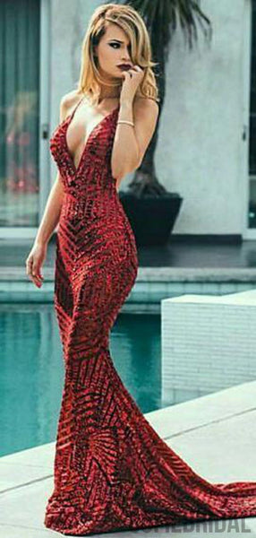 Deep V-neck Red Sequin Mermaid Prom Dresses, Long Cheap Prom Dresses, PD0710