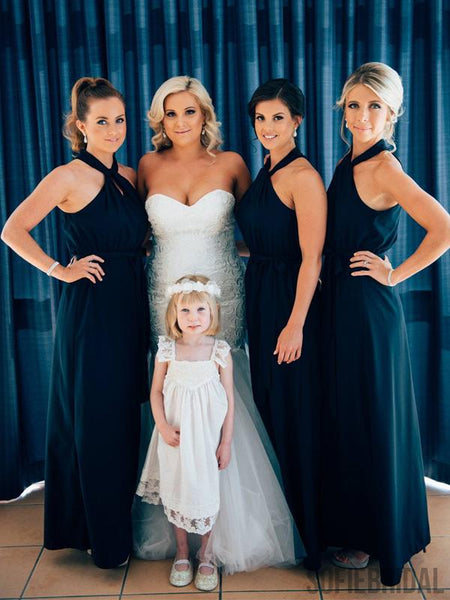 Simple Navy Chiffon Newest Bridesmaid Dresses, PD0966