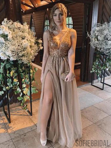 V-neck Rhinestone Long A-line Side Slit Prom Dresses, PD0980