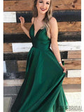 V-neck Long A-line Emerald Green Satin Prom Dresses, PD0921
