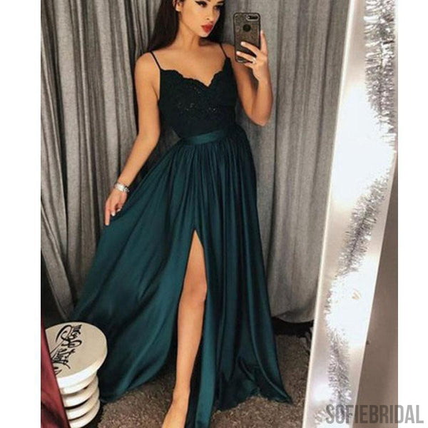Spaghetti Lace Satin Prom Dresses, Side Slit Prom Dresses, Long Prom Dresses, Cheap Prom Dresses, PD0346