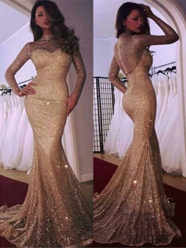 High Neck Long Sleeves Mermaid Sparkle Prom Dresses, PD0788