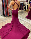 Sexy Mermaid Backless V-neck Beading Prom Dresses With Split, PD0056