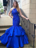 Halter Long Mermaid Royal Blue Satin Lace Beaded Prom Dresses, PD0890