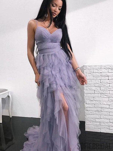 Spaghetti Hi-low Dusty Purple Prom Dresses, Unique Long Prom Dresses, PD0752