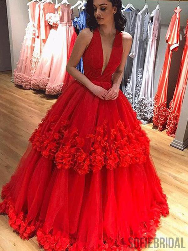 Deep V-neck Red Floral Long A-line Ball Gown, Prom Dresses, PD0963