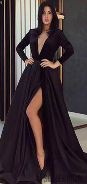 Long Sleeves V-neck Black Long A-line Prom Dresses, Side Slit Satin Prom Dresses , PD0761