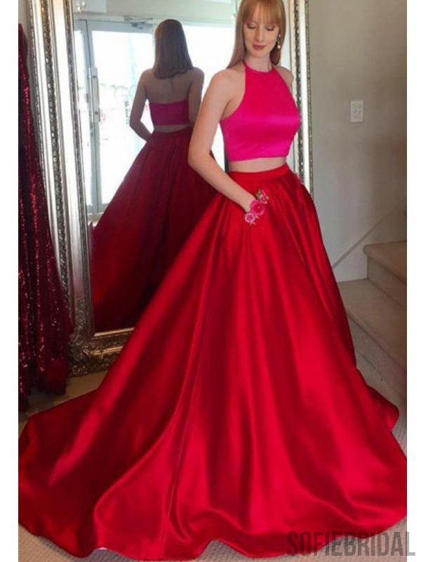 2 Pieces Long A-line Satin Simple Design Prom Dresses PD0948