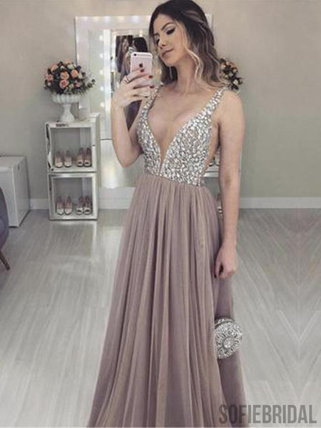 V-neck long A-line Rhinestone Tulle Prom Dresses, PD0979