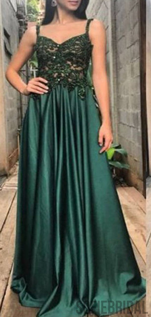 Straps Emerald Lace Long Satin A-line Prom Dresses, PD0830