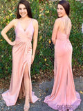 V-neck Blush Pink Side Slit Long Prom Dresses, Cheap Prom Dresses, PD0774