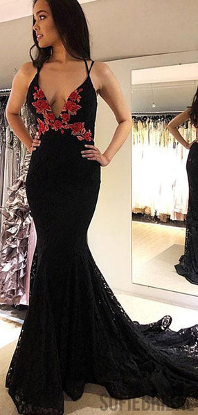 Black V-neck Lace Mermaid Prom Dresses, Cheap Prom Dresses, PD0743