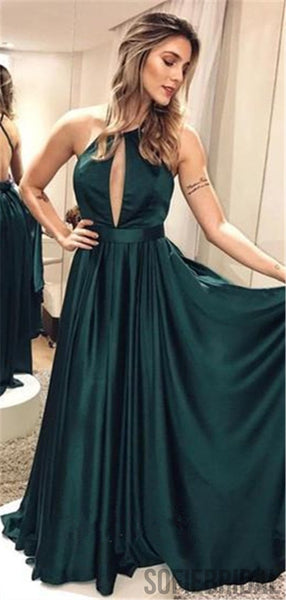 A-line Halter Green Backless Long Popular Prom Dresses, PD0057