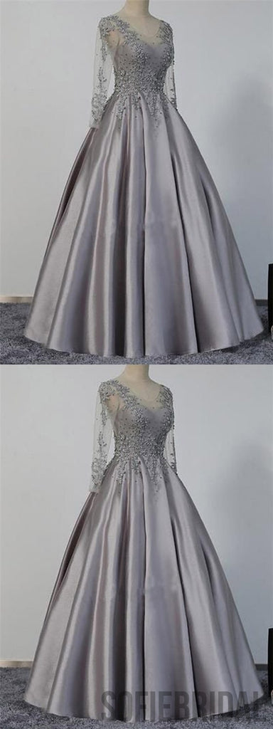 Long Sleeves Prom Dresses, Grey Prom Dresses, Satin Prom Dresses, Beaded Prom Dresses, PD0682