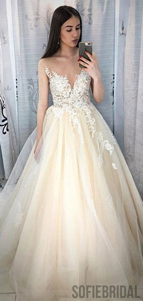 Ivory Lace Tulle Long A-line Prom Dresses/Wedding Dresses, PD0792