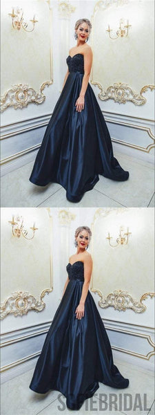 Sweetheart Beaded Prom Dresses, Satin Prom Dresses, Elegant Prom Dresses, Prom Dresses, PD0631