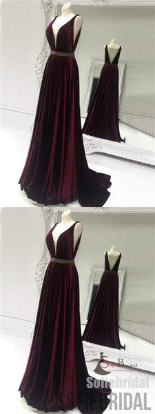 V-neck Velvet Prom Dresses, Beaded Prom Dresses, A-line Prom Dresses, Cheap Prom Dresses, PD0652