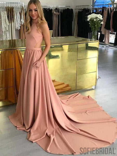 Halter Long A-line Simple Cheap Prom Dresses, Popular Prom Dresses, PD0768