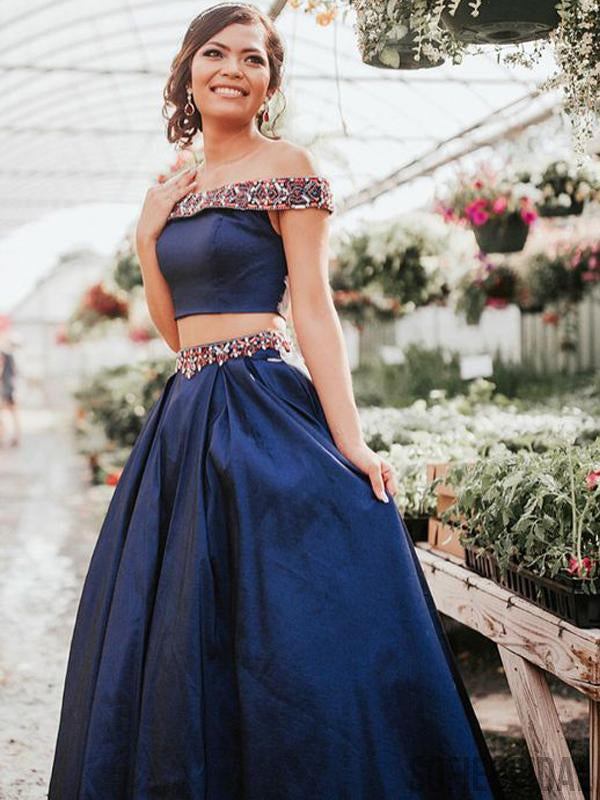 2 Pieces Navy Satin Beaded Off Shoulder Prom Dresses, PD0873