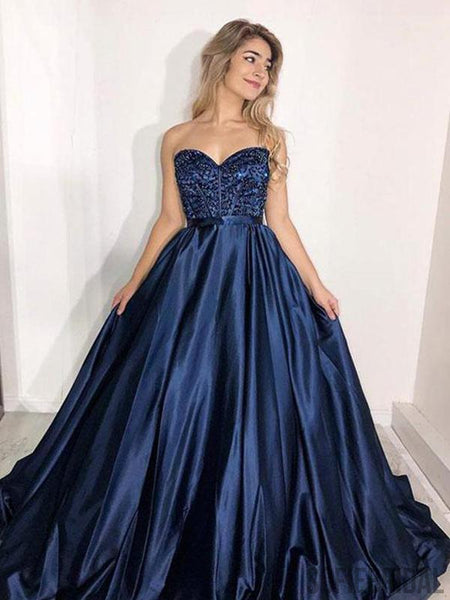 Sweetheart Long A-line Navy Satin Beaded Prom Dresses, PD0976