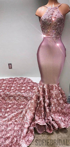 3D Rose Flower Long Mermaid Lace Beaded Prom Dresses, PD0801