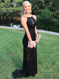 Backless Long Mermaid Black Lace Prom Dresses, PD0986