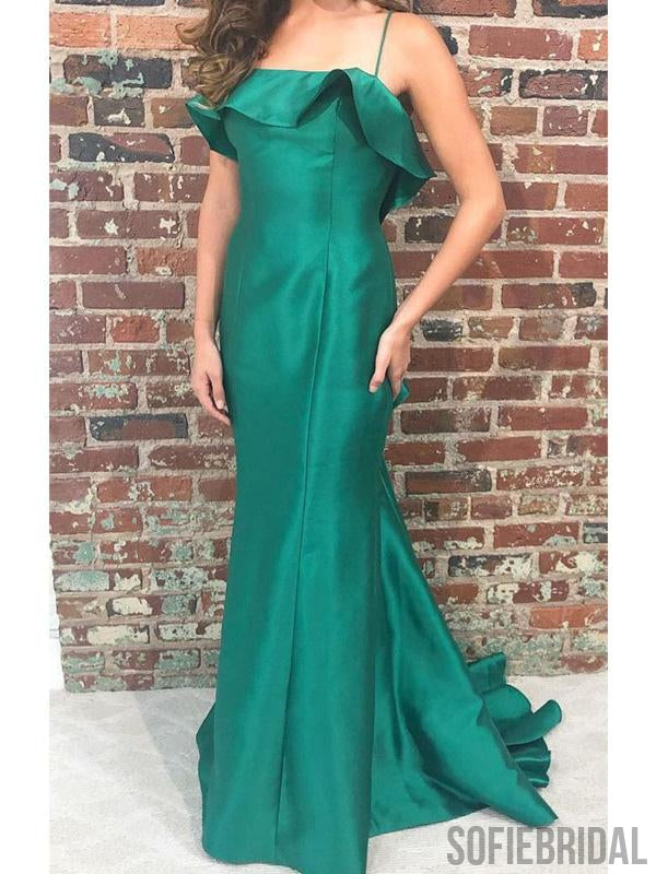 Spaghetti Long Mermaid Green Satin Prom Dresses, PD0965