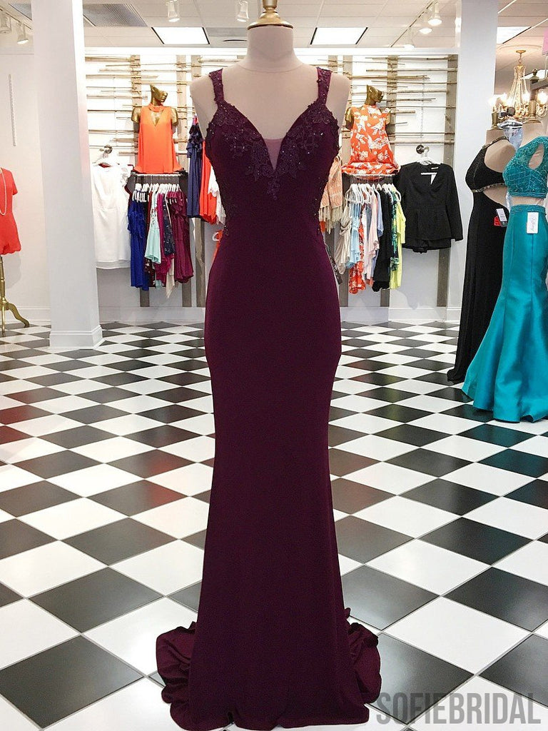 Maroon Long Mermaid Jersey Appliques Beaded Prom Dresses, PD0984